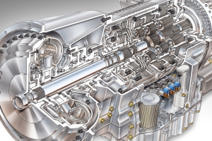Transmission and Clutch Service - Typical automatic transmission displaying the internal shafts and gears